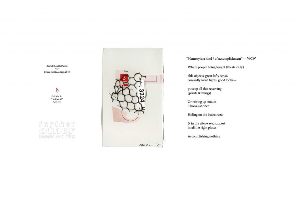 "Rachel Blau DuPlessis & C.J. Martin | 2012 | 13"" x 19"" Archival Inkjet Print | Signed"