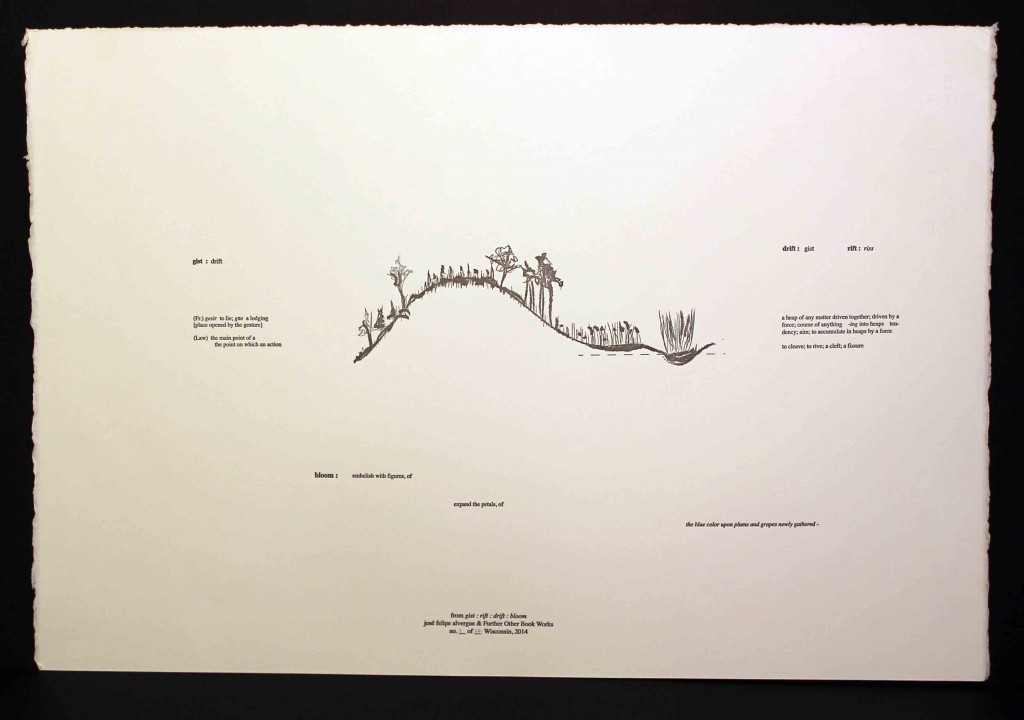 """Single color letterpress print, edition of 22 signed and numbered copies, 15""""x22 ½"""" on Rives BFK."""