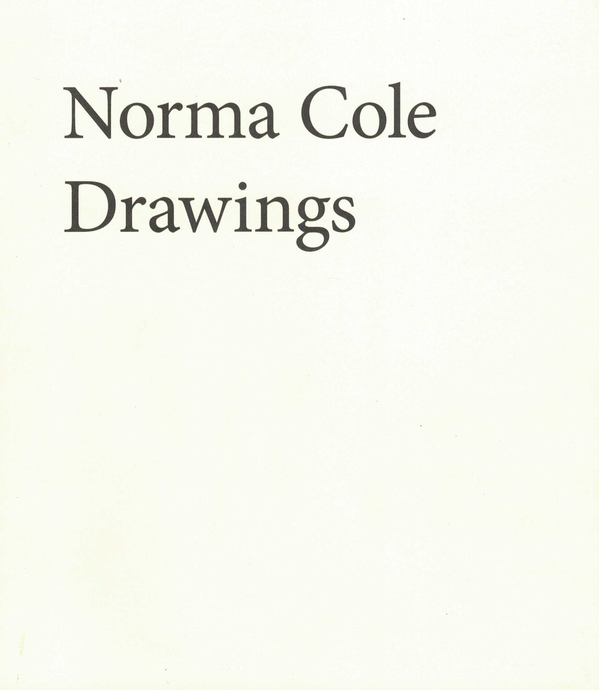 Norma Cole - Drawings (final cover)